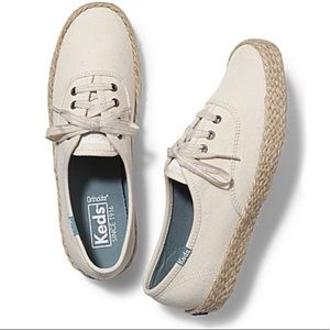 KEDS Champion Salt Wash Jute Sneakers Size 10